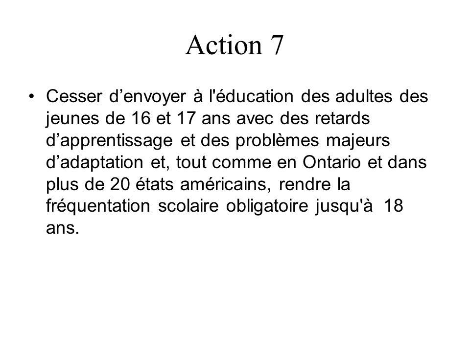 Action 7 Cesser denvoyer à l'éducation des adultes des jeunes de 16 et 17 ans avec des retards dapprentissage et des problèmes majeurs dadaptation et,