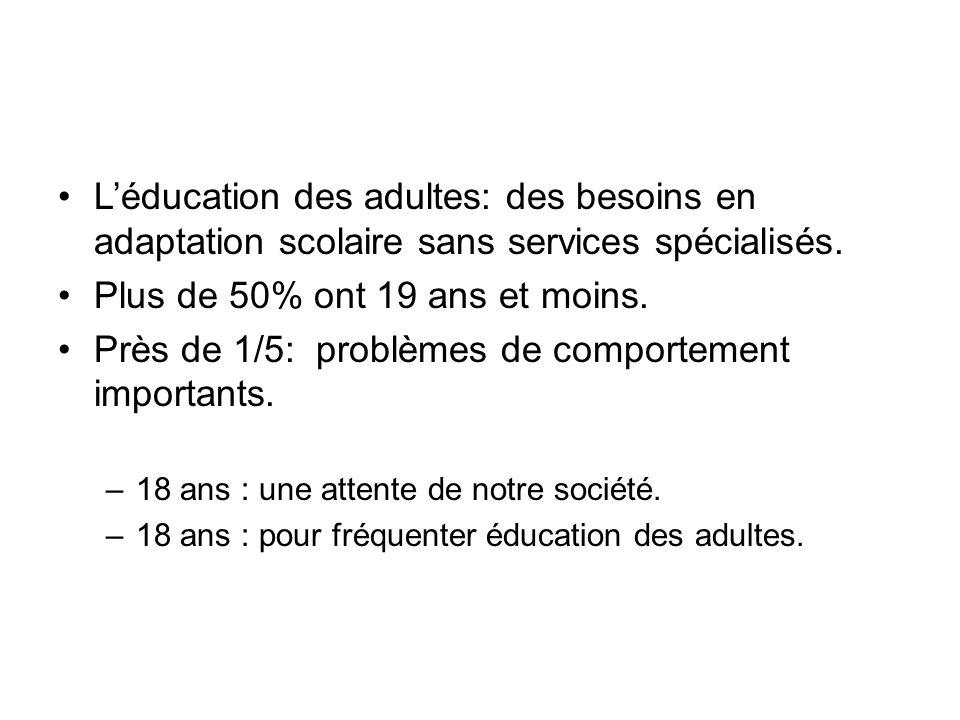Léducation des adultes: des besoins en adaptation scolaire sans services spécialisés. Plus de 50% ont 19 ans et moins. Près de 1/5: problèmes de compo