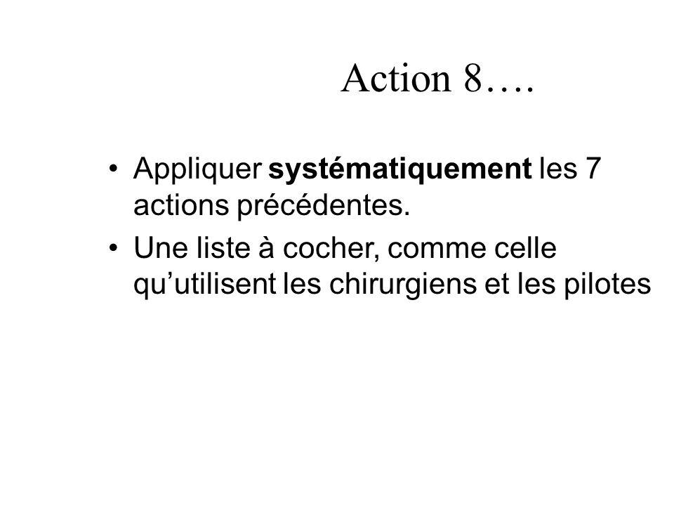 Action 8…. Appliquer systématiquement les 7 actions précédentes. Une liste à cocher, comme celle quutilisent les chirurgiens et les pilotes
