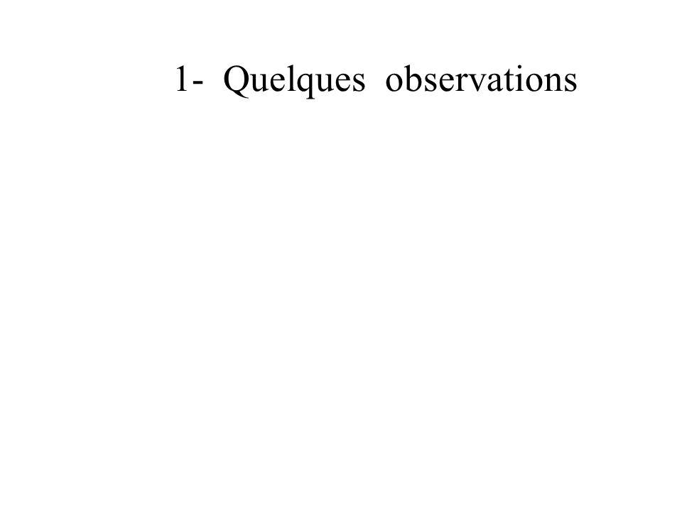 1- Quelques observations