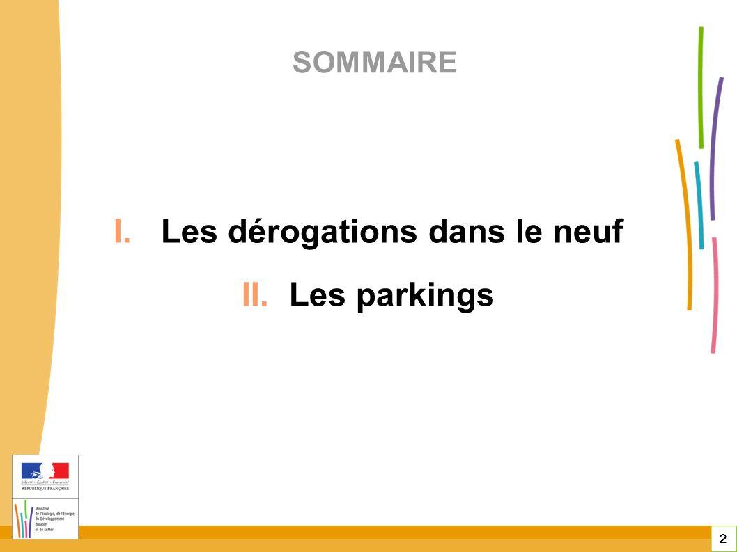 2 SOMMAIRE I. Les dérogations dans le neuf II. Les parkings
