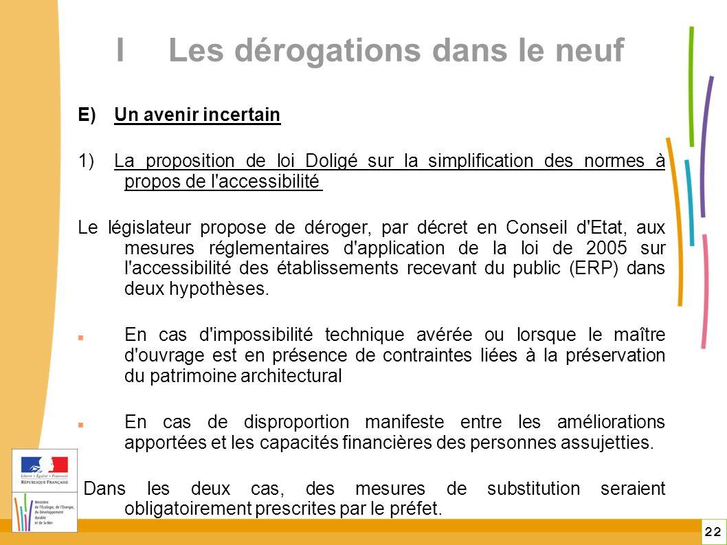22 ILes dérogations dans le neuf E)Un avenir incertain 1)La proposition de loi Doligé sur la simplification des normes à propos de l accessibilité Le législateur propose de déroger, par décret en Conseil d Etat, aux mesures réglementaires d application de la loi de 2005 sur l accessibilité des établissements recevant du public (ERP) dans deux hypothèses.