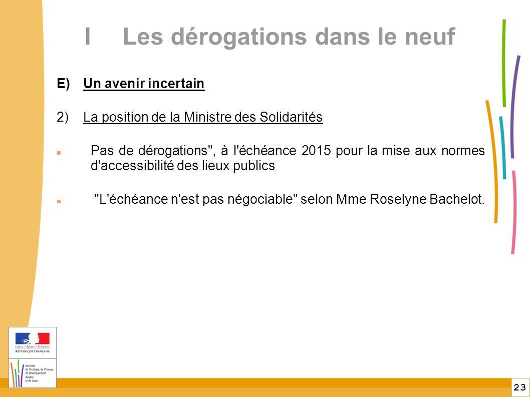 23 ILes dérogations dans le neuf E)Un avenir incertain 2)La position de la Ministre des Solidarités Pas de dérogations , à l échéance 2015 pour la mise aux normes d accessibilité des lieux publics L échéance n est pas négociable selon Mme Roselyne Bachelot.