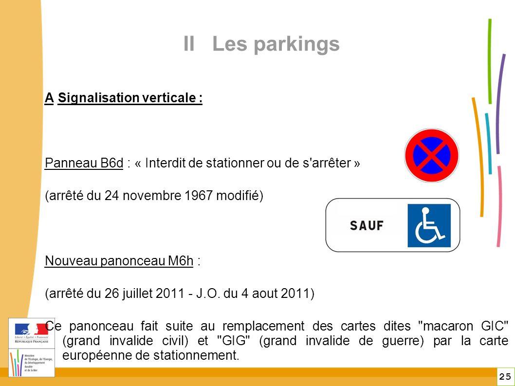 25 II Les parkings A Signalisation verticale : Panneau B6d : « Interdit de stationner ou de s arrêter » (arrêté du 24 novembre 1967 modifié) Nouveau panonceau M6h : (arrêté du 26 juillet 2011 - J.O.