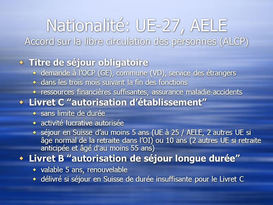 Nationalité: UE-27, AELE Accord sur la libre circulation des personnes (ALCP ) Titre de séjour obligatoire demande à lOCP (GE), commune (VD), service