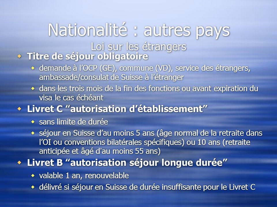 Nationalité : autres pays Loi sur les étrangers Titre de séjour obligatoire demande à lOCP (GE), commune (VD), service des étrangers, ambassade/consul