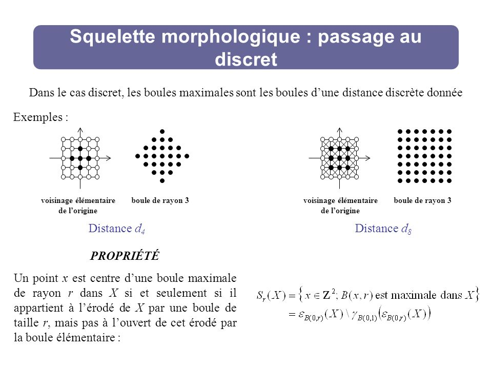 Squelette morphologique : passage au discret PROPRIÉTÉ Un point x est centre dune boule maximale de rayon r dans X si et seulement si il appartient à lérodé de X par une boule de taille r, mais pas à louvert de cet érodé par la boule élémentaire : Dans le cas discret, les boules maximales sont les boules dune distance discrète donnée Exemples : voisinage élémentaire de lorigine boule de rayon 3voisinage élémentaire de lorigine boule de rayon 3 Distance d 4 Distance d 8