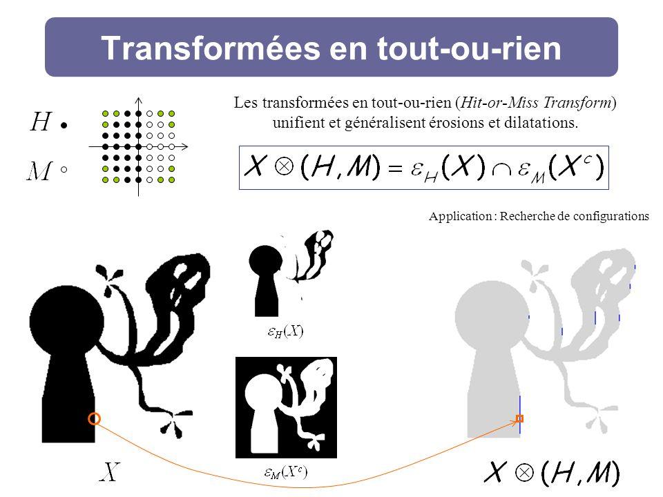 Transformées en tout-ou-rien Application : Recherche de configurations Les transformées en tout-ou-rien (Hit-or-Miss Transform) unifient et généralisent érosions et dilatations.