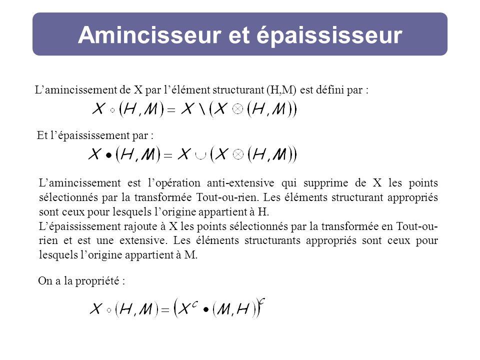 Amincisseur et épaississeur Lamincissement de X par lélément structurant (H,M) est défini par : Lamincissement est lopération anti-extensive qui supprime de X les points sélectionnés par la transformée Tout-ou-rien.