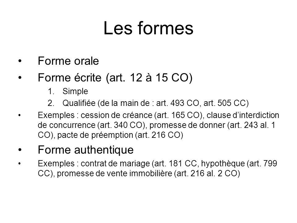 Les formes Forme orale Forme écrite (art. 12 à 15 CO) 1.Simple 2.Qualifiée (de la main de : art.