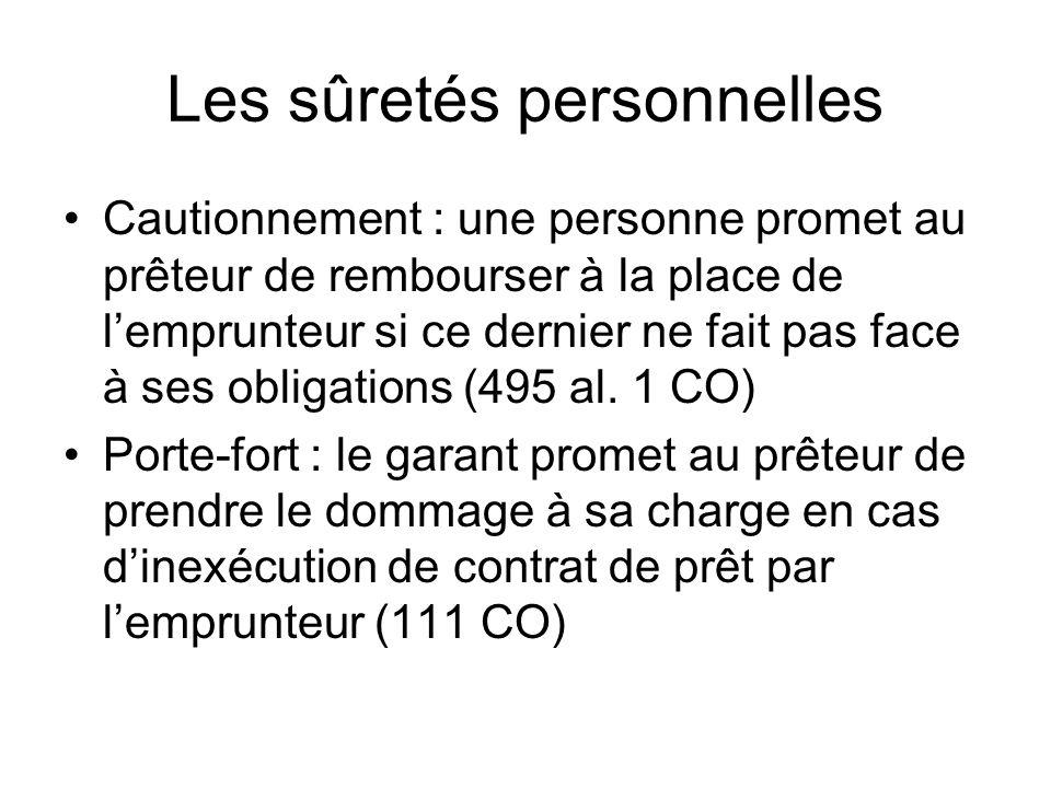 Les sûretés personnelles Cautionnement : une personne promet au prêteur de rembourser à la place de lemprunteur si ce dernier ne fait pas face à ses obligations (495 al.