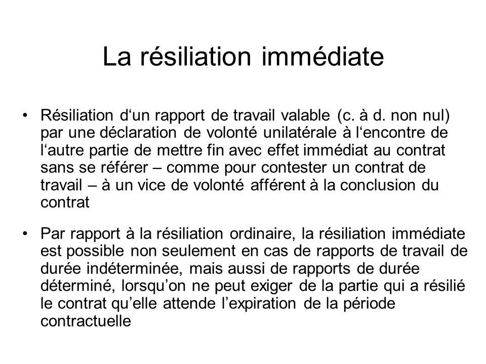 Résiliation dun rapport de travail valable (c. à d.