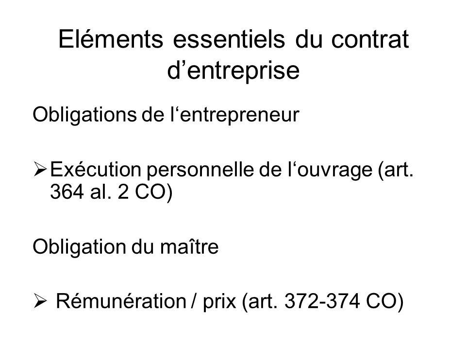 Eléments essentiels du contrat dentreprise Obligations de lentrepreneur Exécution personnelle de louvrage (art.