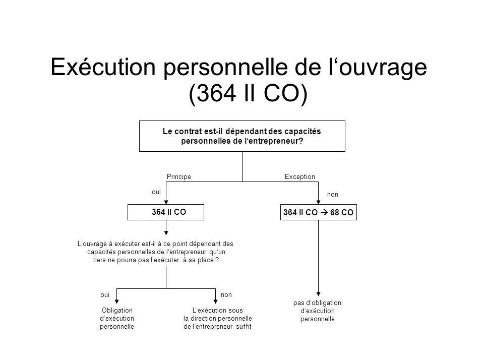 Exécution personnelle de louvrage (364 II CO) Le contrat est-il dépendant des capacités personnelles de lentrepreneur.