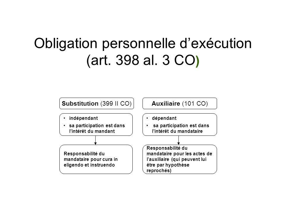 Obligation personnelle dexécution (art. 398 al.