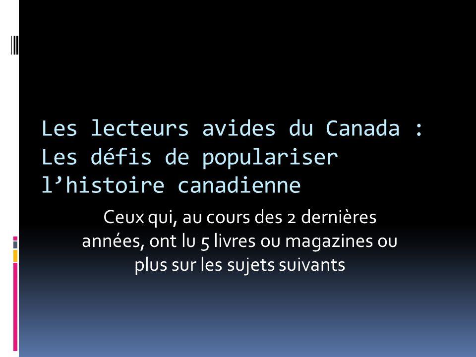 Les lecteurs avides du Canada : Les défis de populariser lhistoire canadienne Ceux qui, au cours des 2 dernières années, ont lu 5 livres ou magazines ou plus sur les sujets suivants