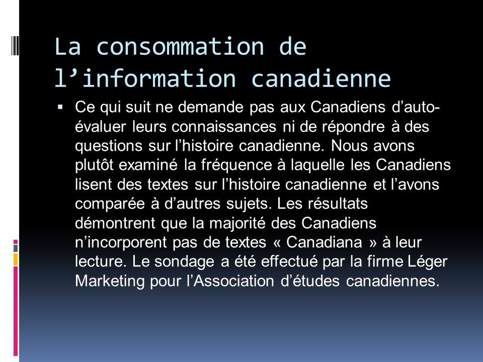 La consommation de linformation canadienne Ce qui suit ne demande pas aux Canadiens dauto- évaluer leurs connaissances ni de répondre à des questions sur lhistoire canadienne.