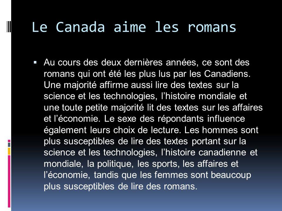 Le Canada aime les romans Au cours des deux dernières années, ce sont des romans qui ont été les plus lus par les Canadiens.