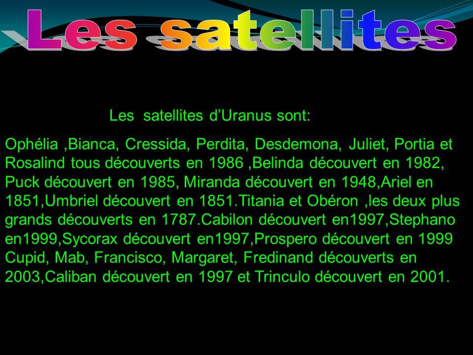 Puis vient Umbriel, elle à un diamètre de 1 190 km, ce satellite est le moins foncé d`Uranus qui ne reflète que 16% de la lumière du soleil.