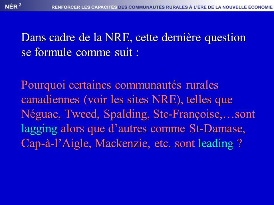 Dans cadre de la NRE, cette dernière question se formule comme suit : Pourquoi certaines communautés rurales canadiennes (voir les sites NRE), telles que Néguac, Tweed, Spalding, Ste-Françoise,…sont lagging alors que dautres comme St-Damase, Cap-à-lAigle, Mackenzie, etc.