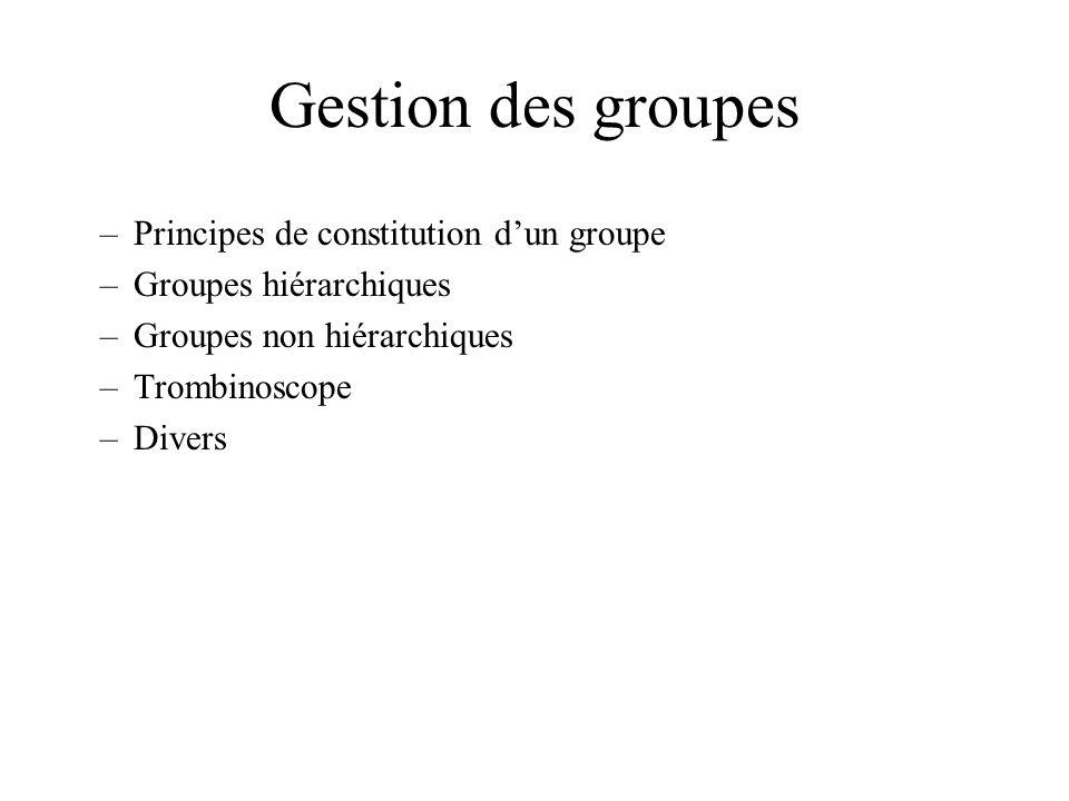 Gestion des groupes –Principes de constitution dun groupe –Groupes hiérarchiques –Groupes non hiérarchiques –Trombinoscope –Divers