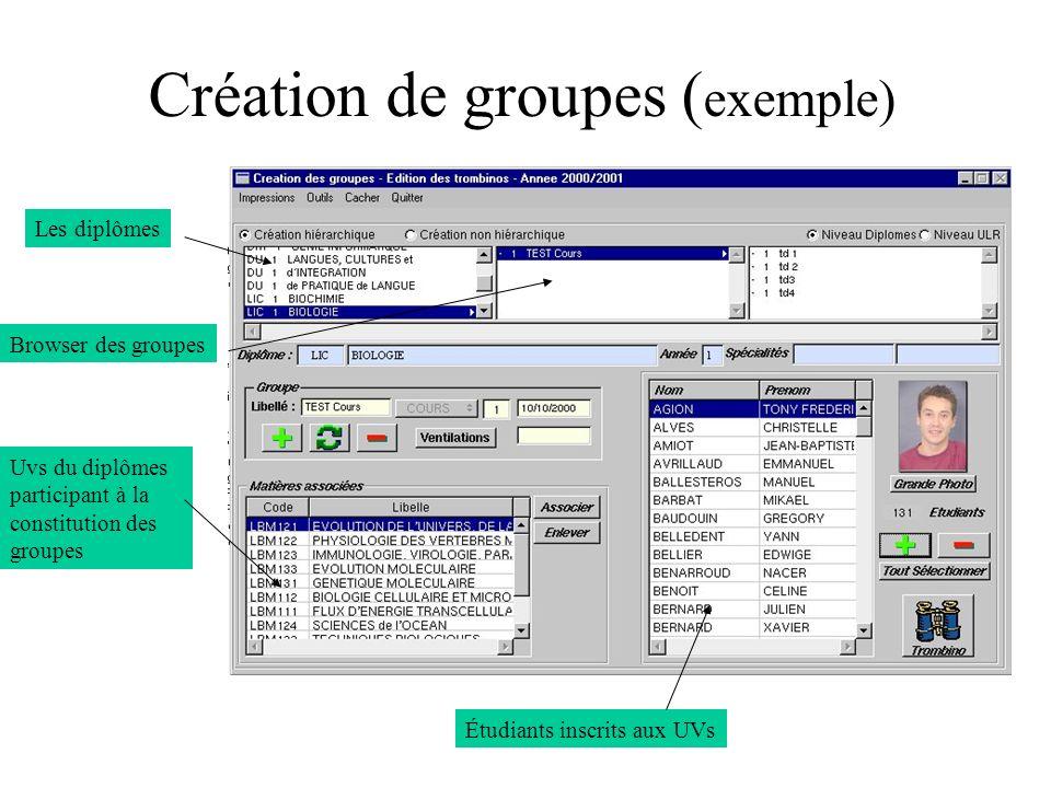 Création de groupes ( exemple) Les diplômes Browser des groupes Uvs du diplômes participant à la constitution des groupes Étudiants inscrits aux UVs