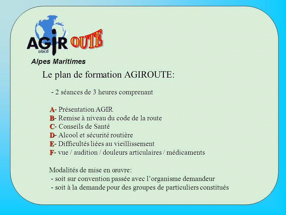 Alpes Maritimes Le plan de formation AGIROUTE: - 2 séances de 3 heures comprenant - 2 séances de 3 heures comprenant A- Présentation AGIR A- Présentat