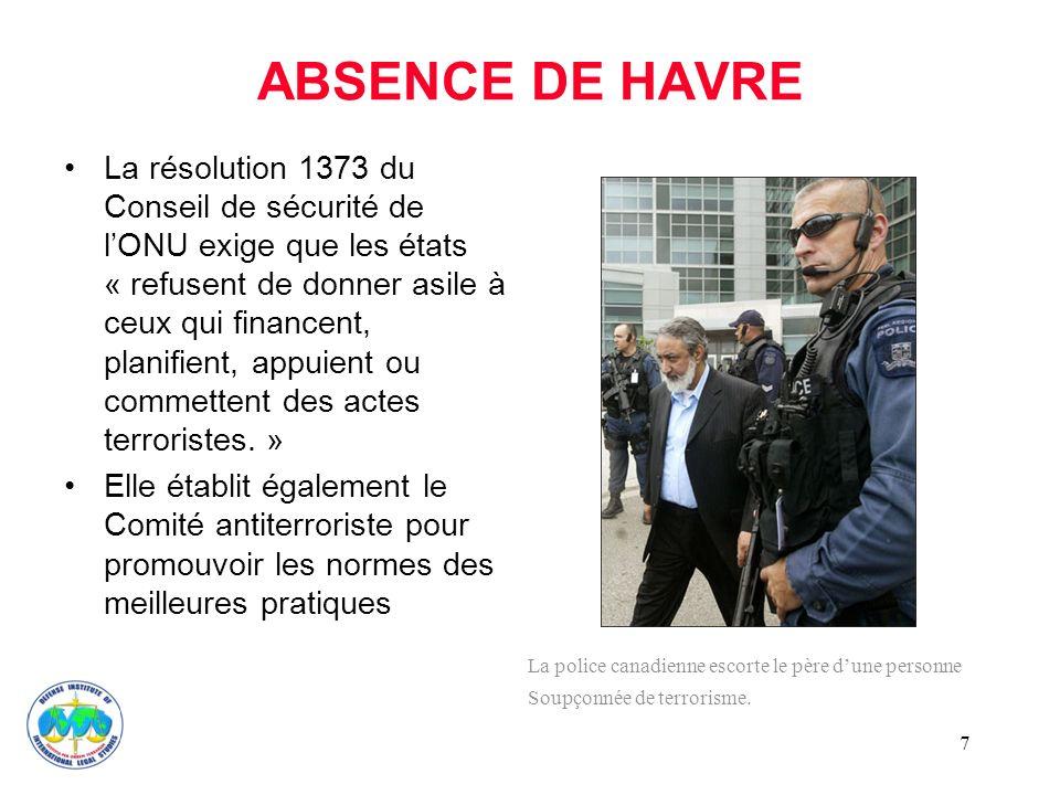7 ABSENCE DE HAVRE La résolution 1373 du Conseil de sécurité de lONU exige que les états « refusent de donner asile à ceux qui financent, planifient, appuient ou commettent des actes terroristes.