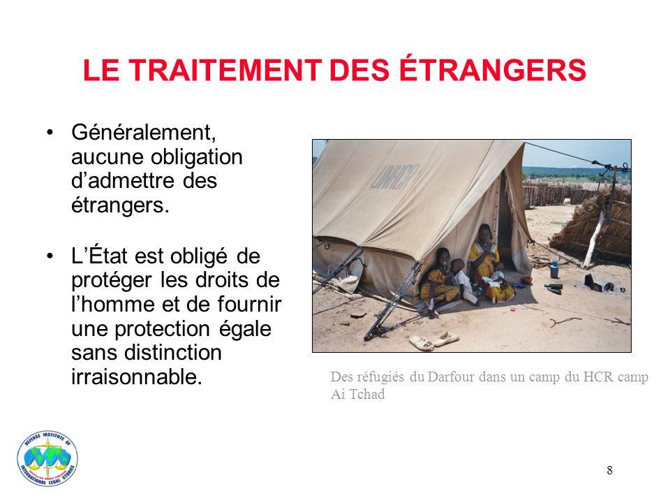 8 LE TRAITEMENT DES ÉTRANGERS Généralement, aucune obligation dadmettre des étrangers.