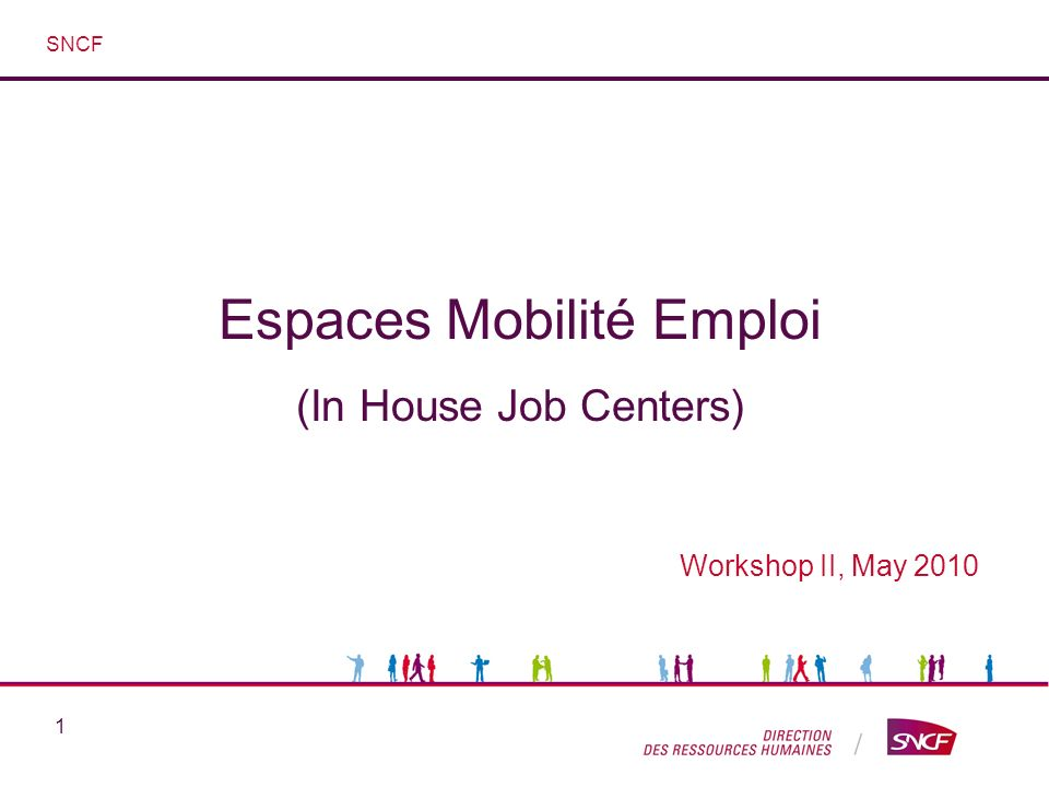 1 Espaces Mobilité Emploi (In House Job Centers) Workshop II, May 2010 SNCF