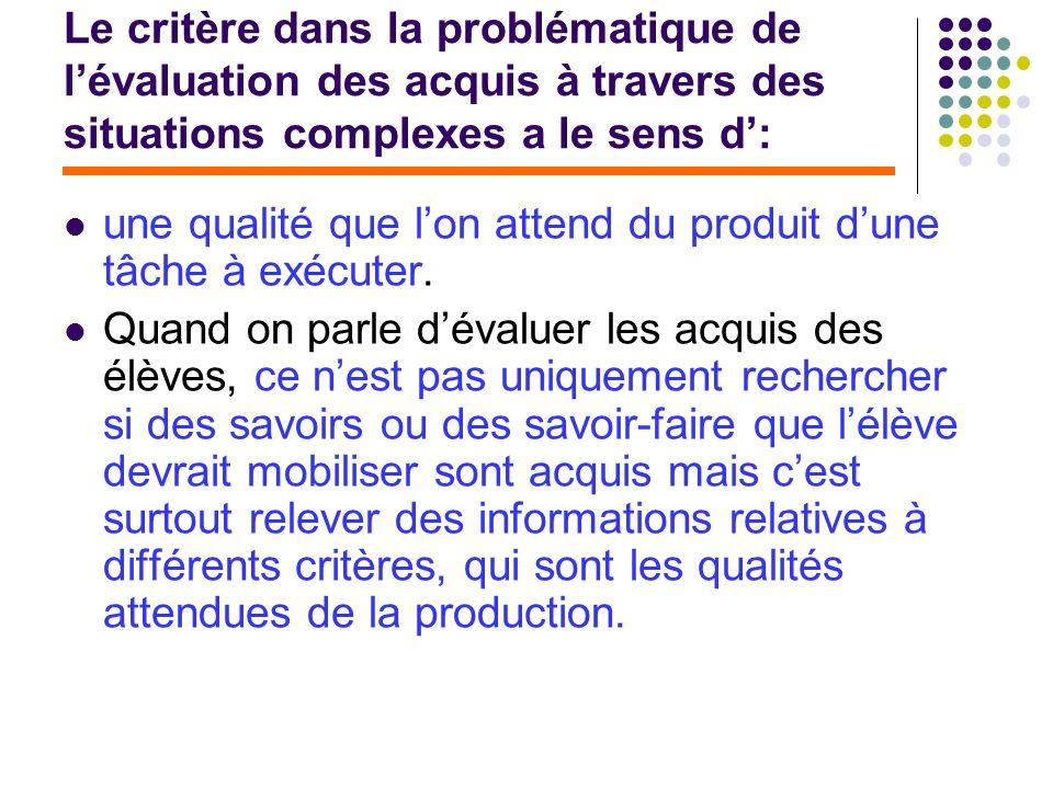 Le critère dans la problématique de lévaluation des acquis à travers des situations complexes a le sens d: une qualité que lon attend du produit dune