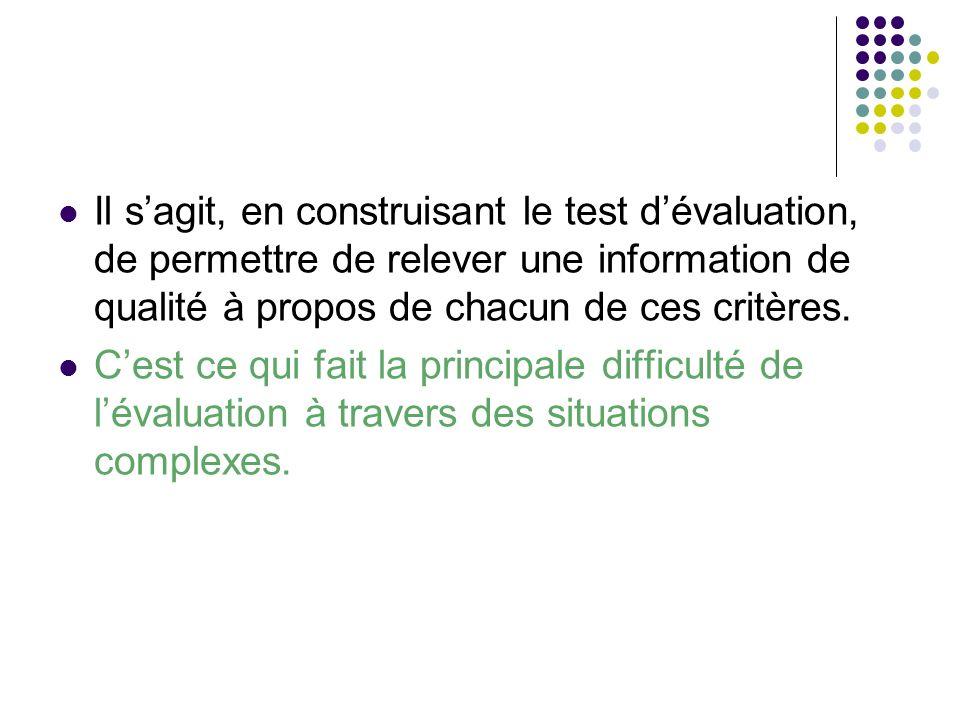 Il sagit, en construisant le test dévaluation, de permettre de relever une information de qualité à propos de chacun de ces critères. Cest ce qui fait
