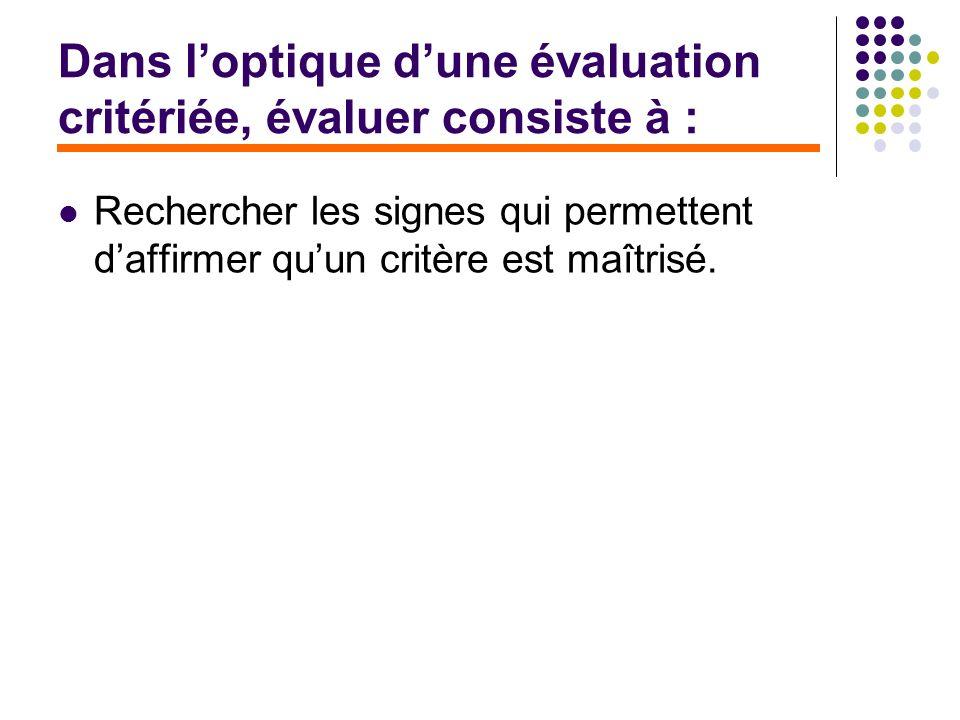Dans loptique dune évaluation critériée, évaluer consiste à : Rechercher les signes qui permettent daffirmer quun critère est maîtrisé.