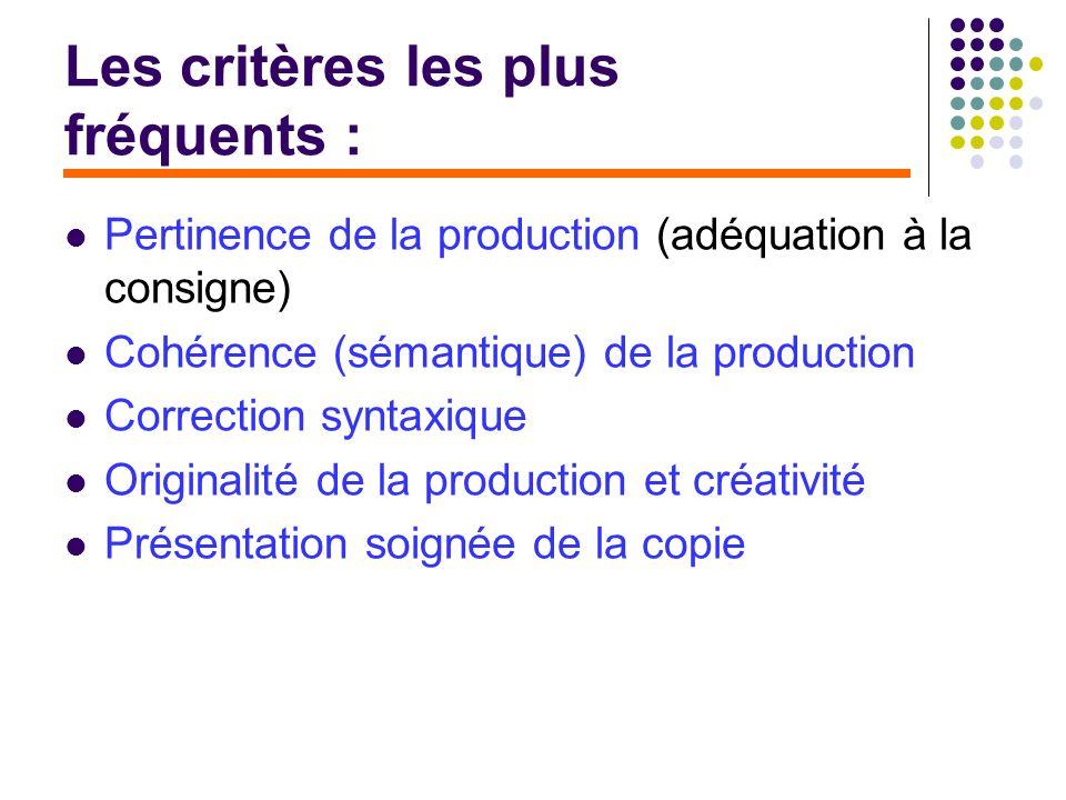 Les critères les plus fréquents : Pertinence de la production (adéquation à la consigne) Cohérence (sémantique) de la production Correction syntaxique
