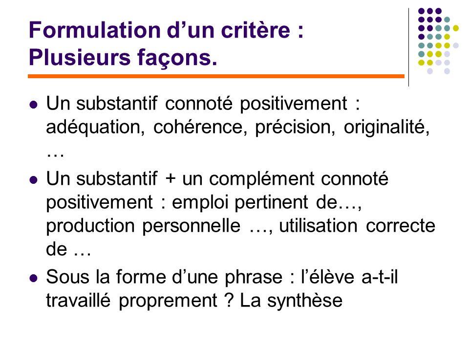 Formulation dun critère : Plusieurs façons. Un substantif connoté positivement : adéquation, cohérence, précision, originalité, … Un substantif + un c