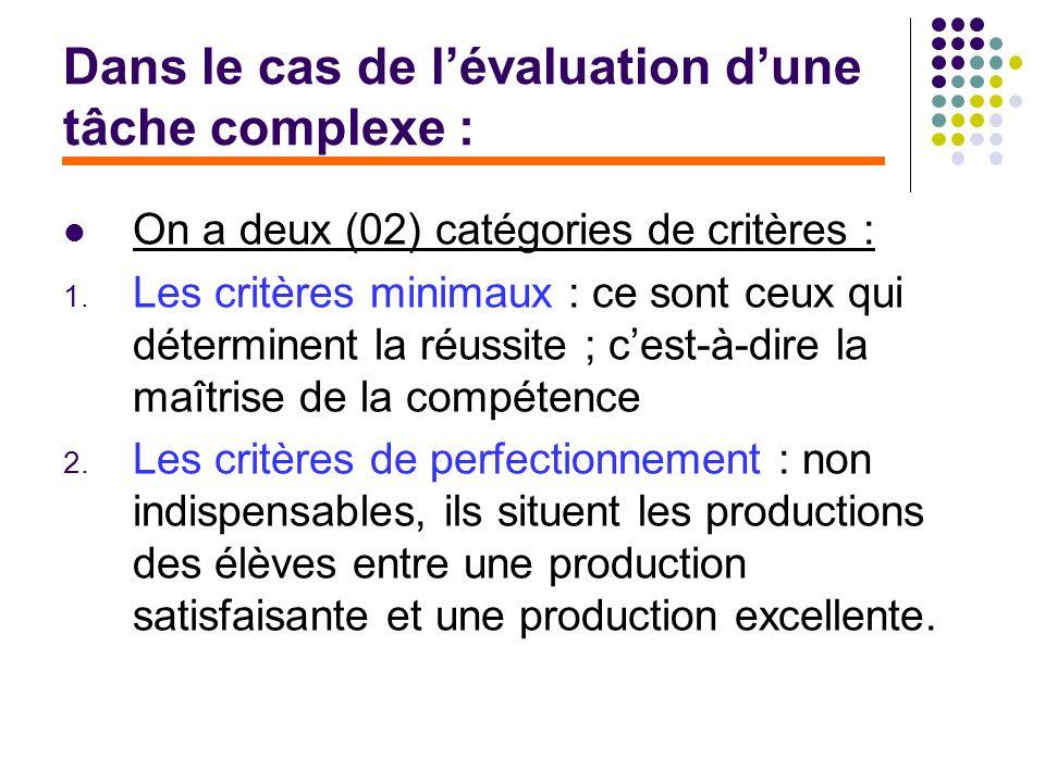 Dans le cas de lévaluation dune tâche complexe : On a deux (02) catégories de critères : 1. Les critères minimaux : ce sont ceux qui déterminent la ré