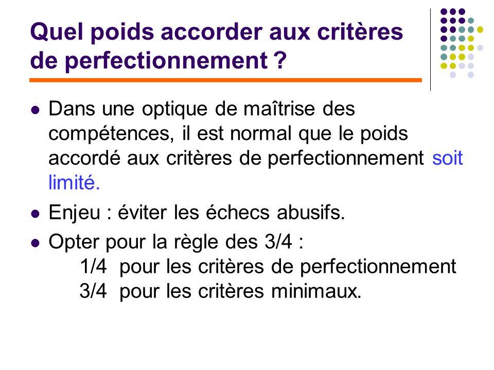 Quel poids accorder aux critères de perfectionnement ? Dans une optique de maîtrise des compétences, il est normal que le poids accordé aux critères d