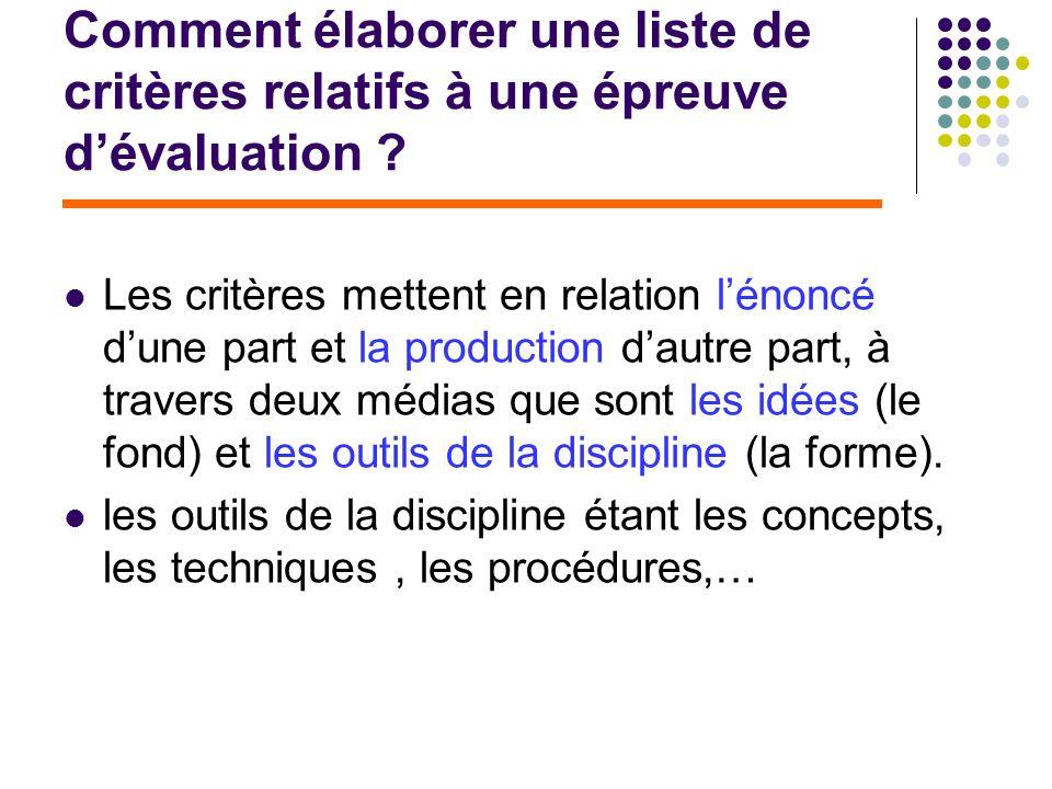 Comment élaborer une liste de critères relatifs à une épreuve dévaluation ? Les critères mettent en relation lénoncé dune part et la production dautre