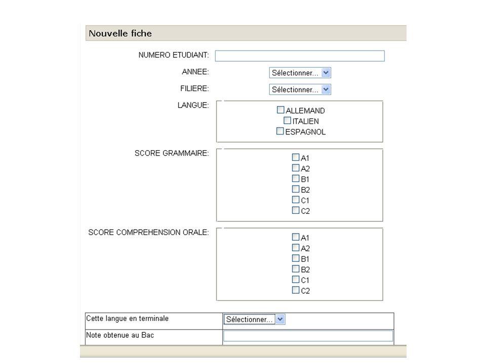 1 - Passer DIALANG www.dialang.org www.dialang.org 2 - Rentrer les scores (A1, A2, B1, B2, C1, C2) www.lansad.univ-savoie.fr Se connecter (login et mot de passe de luniversité) Cliquer sur Options Transversales (entrer la clé dinscription; CISM/ SFA) Avant le vendredi 16 octobre 2009 Début des cours le jeudi 5 novembre 2009 : groupes seront affichés Toujours chercher les informations sur les panneaux daffichage sous la BU, dans ceux de sa filière ou ceux consacrés aux enseignement transversaux, type LV2 Me contacter si problème : delphine.chollat-namy@univ-savoie.frdelphine.chollat-namy@univ-savoie.fr Faucigny bureau 6