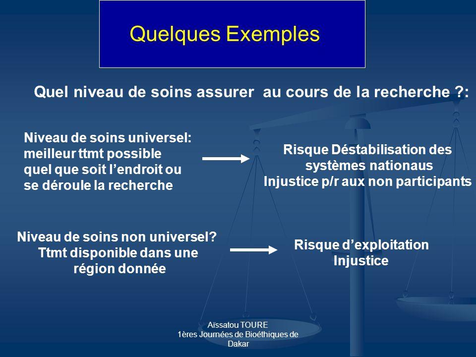Aïssatou TOURE 1ères Journées de Bioéthiques de Dakar Quelques Exemples Quel niveau de soins assurer au cours de la recherche ?: Niveau de soins unive