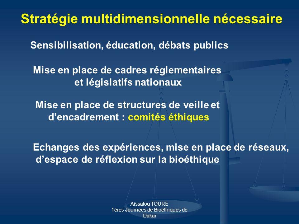 Aïssatou TOURE 1ères Journées de Bioéthiques de Dakar Sensibilisation, éducation, débats publics Mise en place de cadres réglementaires et législatifs