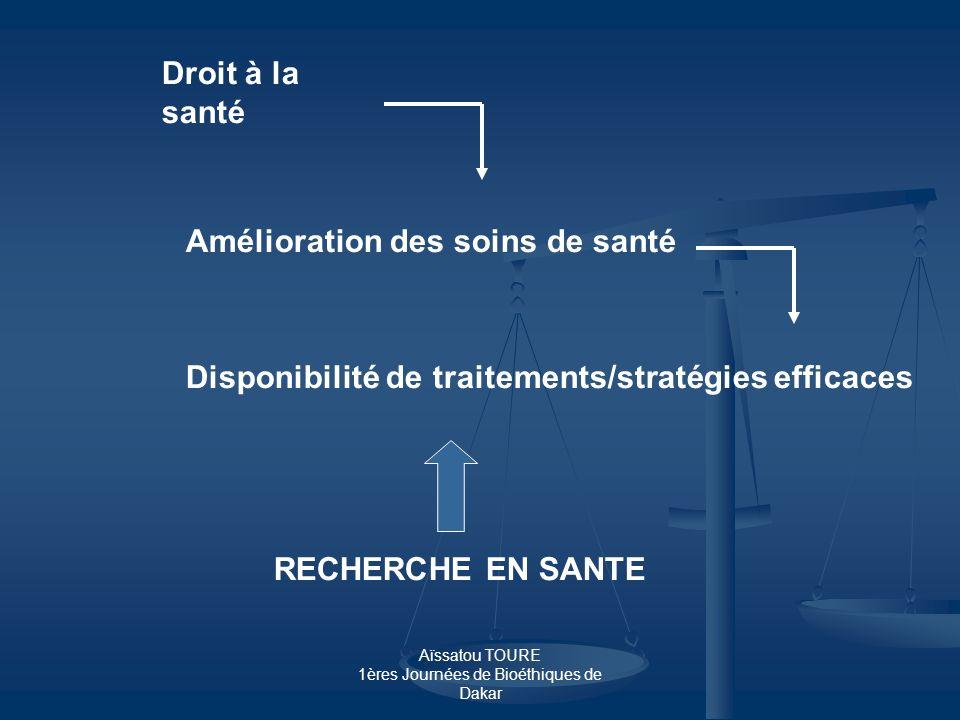Aïssatou TOURE 1ères Journées de Bioéthiques de Dakar Droit à la santé Amélioration des soins de santé Disponibilité de traitements/stratégies efficac