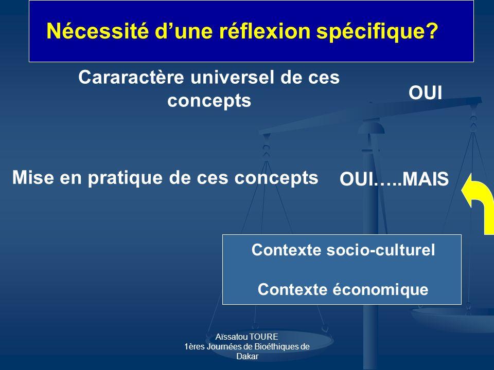 Aïssatou TOURE 1ères Journées de Bioéthiques de Dakar Cararactère universel de ces concepts OUI Mise en pratique de ces concepts OUI…..MAIS Contexte s