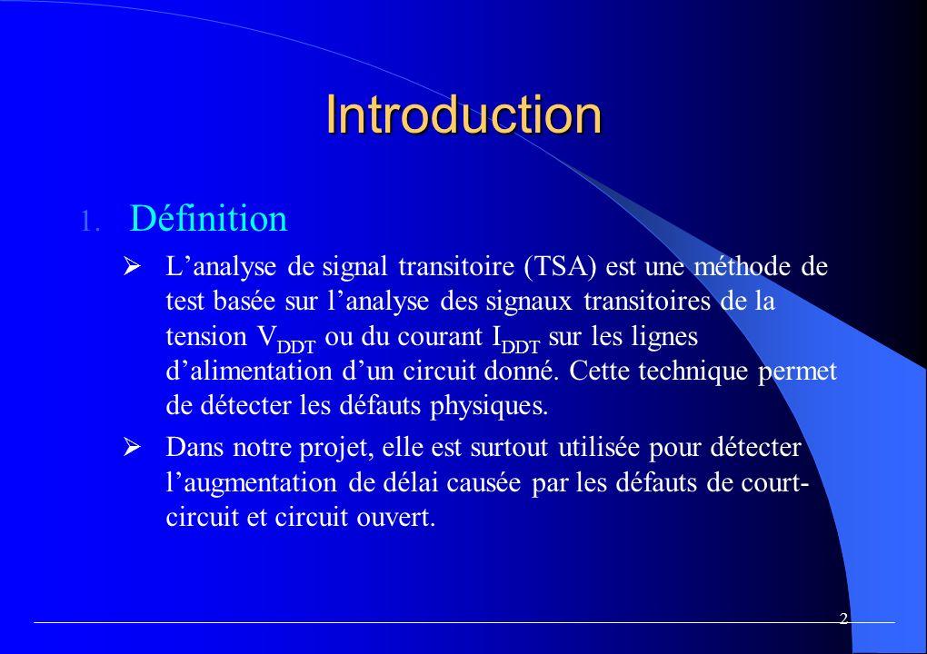 13 Expérimentation Table I CONFIGURATIONS DES SIMULATIONS Simulation 1 Circuit sans faute Simulation 2 variation globale de +10% sur les paramètres W et L Simulation 4 variation globale de +15% Simulation 5 variation globale de +20% Simulation 6 variation globale de +25% Simulation 7 (cc1) Court-circuit sur la 2 ième chaîne dinverseur Simulation 8 (cc2) Court-circuit sur la 1 ère chaîne Simulation 9 (cc3) Court-circuit sur les 2 ère et 3ième chaînes Simulation 10 (co1) Circuit ouvert sur la 2 ième chaîne Simulation 11 (co2) Circuit ouvert sur la 1 ère chaîne Simulation 12 (co3) Circuit ouvert sur les 2 ère et 3 ième chaînes