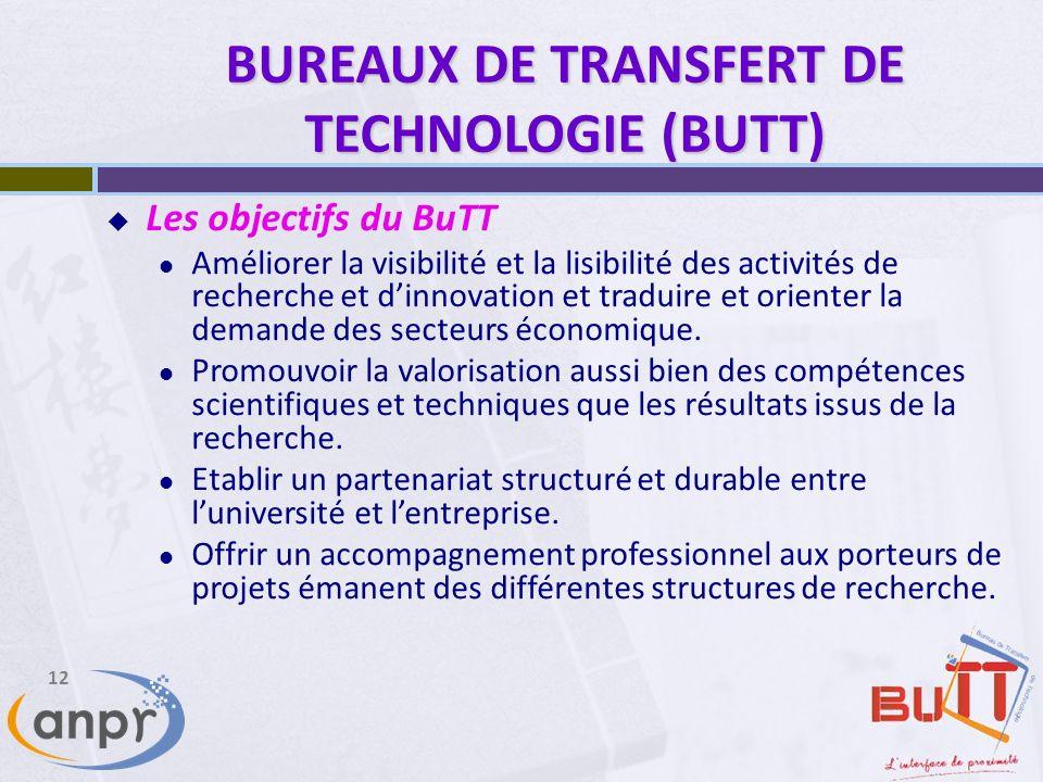12 BUREAUX DE TRANSFERT DE TECHNOLOGIE (BUTT) Les objectifs du BuTT Améliorer la visibilité et la lisibilité des activités de recherche et dinnovation et traduire et orienter la demande des secteurs économique.