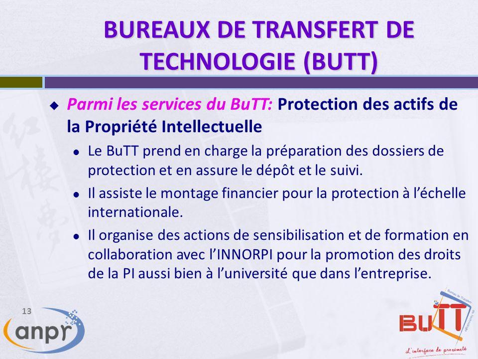 13 BUREAUX DE TRANSFERT DE TECHNOLOGIE (BUTT) Parmi les services du BuTT: Protection des actifs de la Propriété Intellectuelle Le BuTT prend en charge la préparation des dossiers de protection et en assure le dépôt et le suivi.