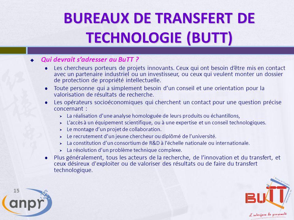 15 BUREAUX DE TRANSFERT DE TECHNOLOGIE (BUTT) Qui devrait sadresser au BuTT .