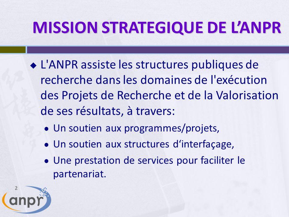 2 MISSION STRATEGIQUE DE LANPR L ANPR assiste les structures publiques de recherche dans les domaines de l exécution des Projets de Recherche et de la Valorisation de ses résultats, à travers: Un soutien aux programmes/projets, Un soutien aux structures dinterfaçage, Une prestation de services pour faciliter le partenariat.