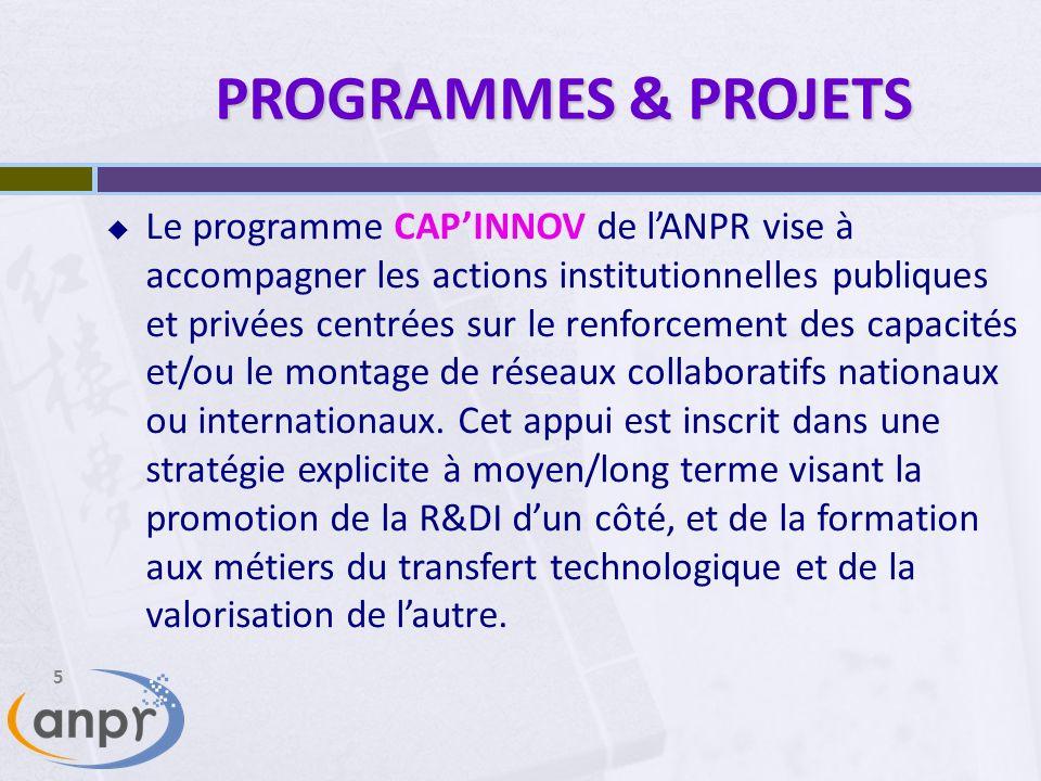 5 PROGRAMMES & PROJETS Le programme CAPINNOV de lANPR vise à accompagner les actions institutionnelles publiques et privées centrées sur le renforcement des capacités et/ou le montage de réseaux collaboratifs nationaux ou internationaux.
