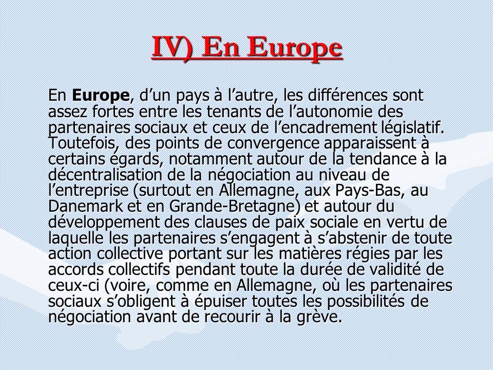 IV) En Europe En Europe, dun pays à lautre, les différences sont assez fortes entre les tenants de lautonomie des partenaires sociaux et ceux de lenca